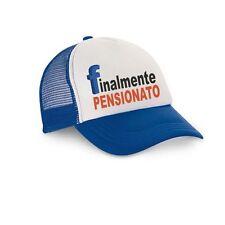 cappello cappellino uomo visiera blu con scritta FINALMENTE PENSIONATO  pensione 2821f87f8a06