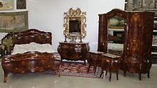 Antique Country French Bombay Burl Walnut Five Pce Bedroom Set Queen Bed C 1900