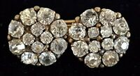 Gilt metal & clear stone vintage Victorian antique double brooch