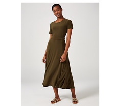 Nina Leonard Short Sleeve Belted Dress Dark Olive Size XL BNWT