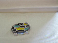 Swank cloisonne colores Nice unusual New Vintage Silver Metal Tie Tac Pin