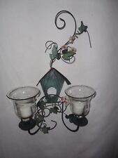 Home Interiors  Metal Birdhouse Wall Sconce & Votive Cups Gorgeous