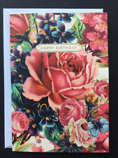 1 One large gorgeous pink rose blue butterfly birthday card Eleanor Stuart