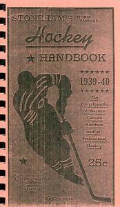 1939-40 Annual Hockey Handbook Reproduction Western Canada Senior Amateur Teams