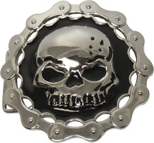 67076 Silver Colored Skull Black Background Chain Border Punk Metal Belt Buckle