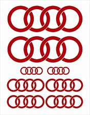 COMPLETE 8 PCE SET: AUDI RINGS STICKERS DECALS in GLOSS ROSSO RED COLOUR