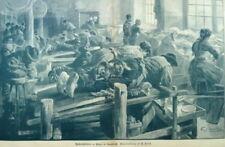 """Messer-Herstellung""""Messerschleiferei zu Thiers-Frankreich"""" Orig.Holzstich v.1896"""