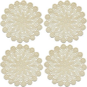 12 Inch Lace Cotton Doilies Crochet Handmade Table Placemats, Beige, Pack of 4