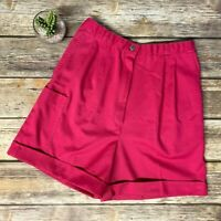 VTG Jantzen Sport Hot Pink High Rise Cuffed Shorts Preppy 70s 80s Womens Size 8