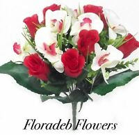 ARTIFICIAL SILK FLOWERS LARGE ROSEBUD ORCHID MIXED BUSH RED & IVORY WITH FOLIAGE