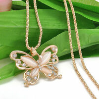 Pendant Charm Women Long Sweater Chain Necklace Opal Butterfly Necklaces Jewelry