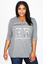 Hoodie Gr.44 Pullover Sweatshirt Kapuzenshirt Sweater Pullover Strass grau Damen