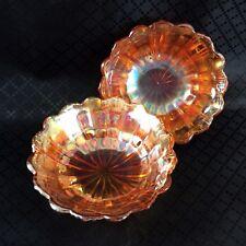 2 Art Deco Carnival Glass Bowls Iridescent Luster Orange EAPG