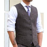 Men Tweed Waistcoat Retro Herringbone Vest Lapel Gilet Formal Suit Top Slim Chic
