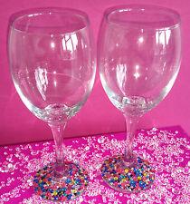 2 MULTI RHINESTONE GLITTER WINE GLASSES PRESENT WEDDING BIRTHDAY CHRISTMAS
