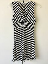 PETER NYGARD Petite Black White Strip Dress - Petite Size S  (4703)