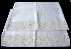 New White Cotton Sateen Embroidery Lace PillowCases Standard Queen King Pair s6#