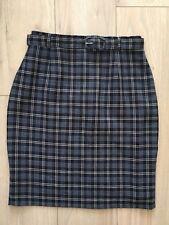 Vintage ST MICHAEL M&S Navy Checked Highwaisted Pencil Skirt 12 Work Career