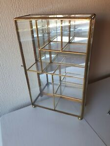 """Small Brass Curio Glass Display Case with Hinged Door, Mirrored Back 10"""" X 6"""""""