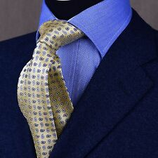 ELegant Extra Designed in Italy Paisley Woven Tie, Yellow and Blue Boss Fashion