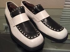 Vintage PATRICK COX  Black & White Leather Loafers  Size 9