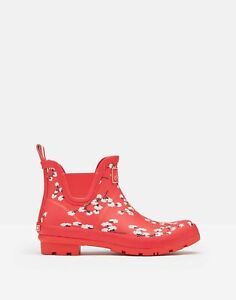 Joules Womens Wellibob Short Height Wellies - Red Ditsy - Adult 6