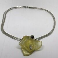 Vintage Yellow Lucite Rose Large Bead Flower Statement Chain Necklace Choker