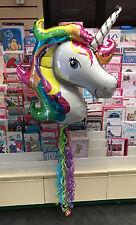 Arco IRIS UNICORNIO Foil Balloon grande con Twirlz Gratis Cola! childens Fiesta!