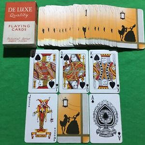 Old 1930s Vintage Art Deco * SILHOUETTE STAGE GIRL + MAN * Playing Cards