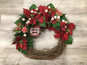 Modern Farmhouse Wreath Christmas Holiday w/ Red Vintage Poinsettias & Rosebuds