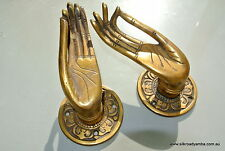 """2 cast Pull handle hands solid brass door aged old style knob hook 4 """" buddha B"""