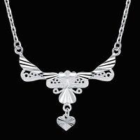 Joli raffiné COLLIER argent, chaîne pendentif pampille coeur bijoux joaillerie N