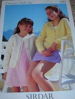 Original Sirdar Knitting Pattern Girl's 4Ply Round & V-Neck Cardigans No 4223