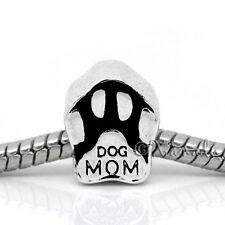 Dog Mom European Bead - Puppy Dog Paw Bead For All European Charm Bracelets