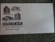 Hotel de Soto Envelope Savannah GA Historical Document Vintage