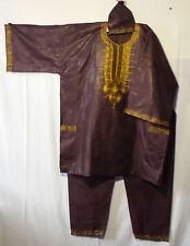 Mens Clothing 3Pcs Dashiki Pant Suit boho African Brocade Dark Brown Free Size