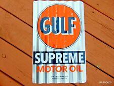 GULF MOTOR OIL SIGN GASOLINE OLD VINTAGE 1960s ADVERTISING ANTIQUE GAS PUMP SIGN
