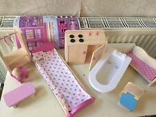 Wooden Dolls House Furniture 4 Sets Bedroom Kitchen Bathroom&Living,Bedroom