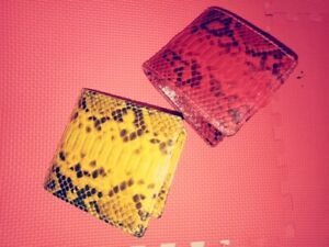 2 Pcs Python Snakeskin Leather Wallet Red and Yellow