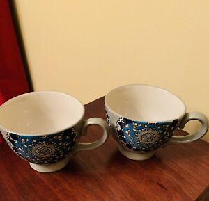 Two Dutch Wax Mug Footed Hand-Painted Ceramic Coffee Tea Cup Blue