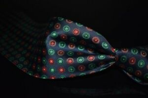 #1 MENSWEAR Stefano Ricci Made in Italy Navy Heavy Twill Green Red Orbs Silk Tie