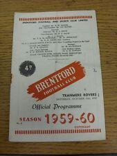 10/10/1959 Brentford v Tranmere Rovers  (Crease, Fold, Rusty Staples/Marks, Scor