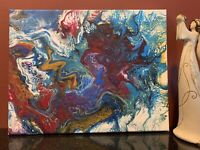 Flowing Kaleidoscope - Modern Art Original Abstract Acrylic Pour Painting Canvas