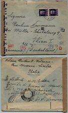 REGNO - Coppia 50 cent Imperiale(251) Busta Falcone x Vienna 7.1.1943 - Censura