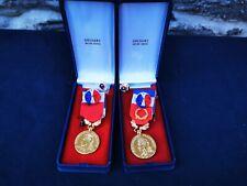 Médaille de travail Delsart lot de 2 classe vermeil et or, en boîte