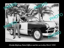 OLD POSTCARD SIZE PHOTO OF FLORIDA HIGHWAY PATROL OFFICER & CAR, KEY WEST c1950