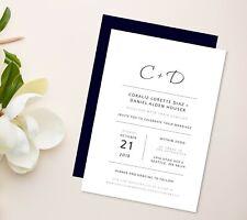 Classic, minimalist wedding invitation, dark blue navy envelopes, simple design