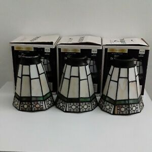 Vintage Hampton Bay Tiffany Style Stained Slag Glass Ceiling Fan Light 3 Shades