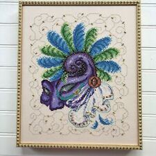 Completed Framed Cross Stitch Applied Beading Gold Thread MacLaren Art Centre