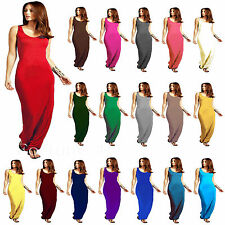 NEW LADIES MUSCLE RACER BACK JERSEY MAXI DRESS WOMEN LONG VEST SUMMER DRESS 8-26
